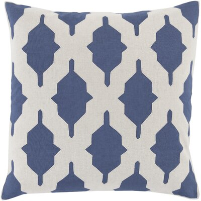 Metsahovi Cotton Throw Pillow Size: 22 H x 22 W x 4 D, Color: Navy, Filler: Down