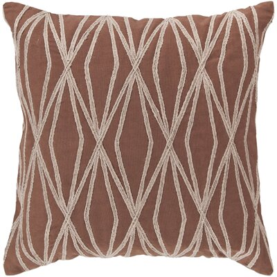 Chan Cotton Throw Pillow Color: Burgundy, Size: 22 H x 22 W x 4 D, Filler: Polyester
