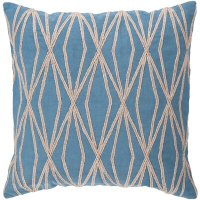 Chan Cotton Throw Pillow Size: 18 H x 18 W x 4 D, Color: Aqua, Filler: Polyester