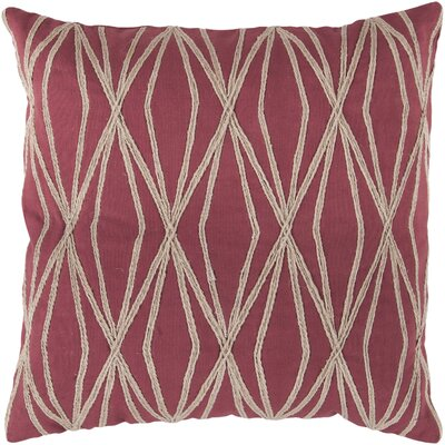 Chan Cotton Throw Pillow Size: 22 H x 22 W x 4 D, Color: Cherry, Filler: Polyester