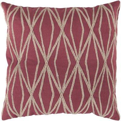 Chan Cotton Throw Pillow Size: 22 H x 22 W x 4 D, Color: Cherry, Filler: Down