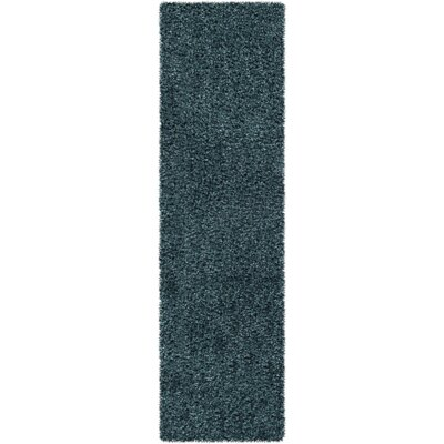 Mchaney Hand-Tufted Teal/Black Area Rug Rug Size: Runner 23 x 8