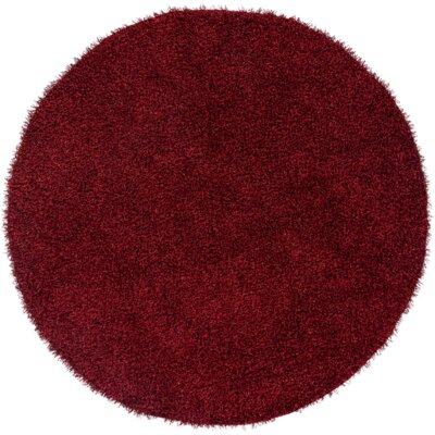 Mchaney Hand-TuftedRed Area Rug Rug Size: Round 6