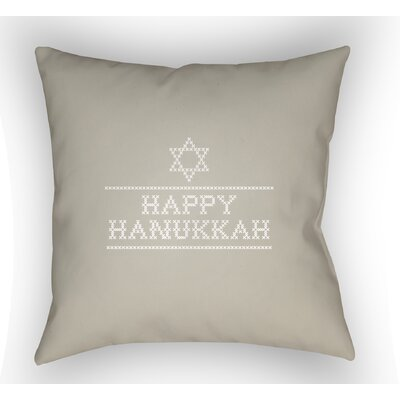 Massengale Happy Hannukah Indoor/Outdoor Throw Pillow Size: 18 H x 18 W x 4 D, Color: Neutral