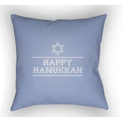 Massengale Happy Hannukah Indoor/Outdoor Throw Pillow Size: 20 H x 20 W x 4 D, Color: Light Blue