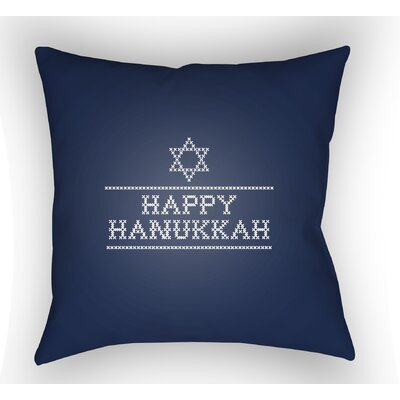 Massengale Happy Hannukah Indoor/Outdoor Throw Pillow Size: 18 H x 18 W x 4 D, Color: Dark Blue