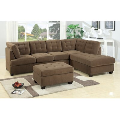 Darianna Leather Waffle Reversible Sectional Upholstery: Caramel Truffle
