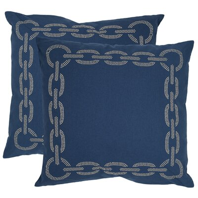 Melgoza Paisley Cotton Throw Pillow Size: 22 x 22, Color: Navy Blue