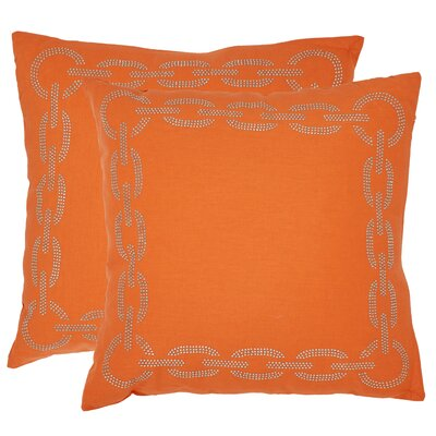 Melgoza Paisley Cotton Throw Pillow Size: 18 x 18, Color: Orange