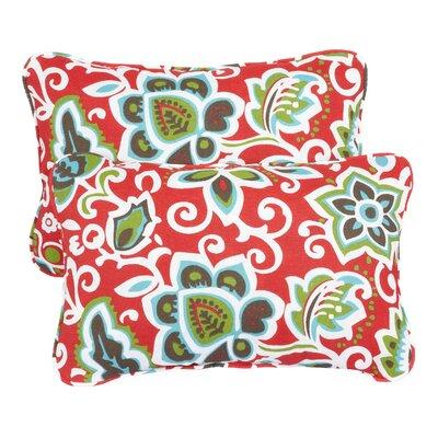 Hagopian Corded Indoor/Outdoor Lumbar Pillow Fabric: Floral Red