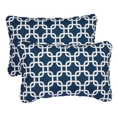 Hahne Corded Indoor/Outdoor Lumbar Pillow Fabric: Knotted Navy