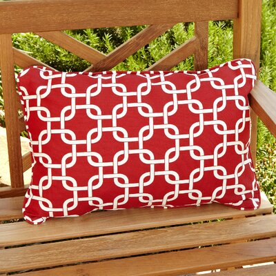 Hahne Corded Indoor/Outdoor Lumbar Pillow Fabric: Knotted Red