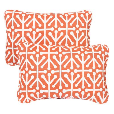 Halbert Corded Indoor/Outdoor Lumbar Pillow Fabric: Dossett Orange