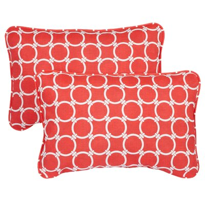 Haigh Corded Indoor/Outdoor Lumbar Pillow Fabric: Link Coral