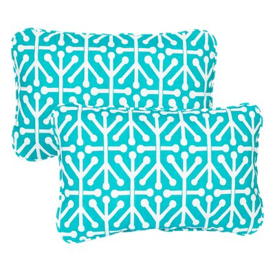 Halbert Corded Indoor/Outdoor Lumbar Pillow Fabric: Dossett Teal