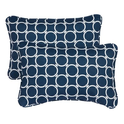 Haigh Corded Indoor/Outdoor Lumbar Pillow Fabric: Link Navy