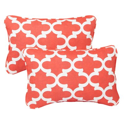 Haight Corded Outdoor Lumbar Pillow Fabric: Scalloped Coral