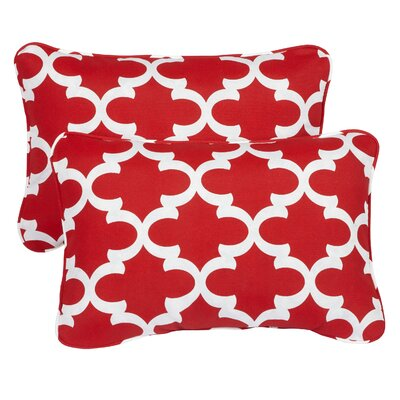 Haight Corded Indoor/Outdoor Lumbar Pillow Fabric: Scalloped Red