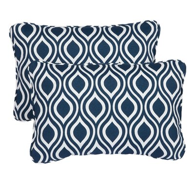 Barrs Court Corded Indoor/Outdoor Lumbar Pillow Fabric: Wavy Navy