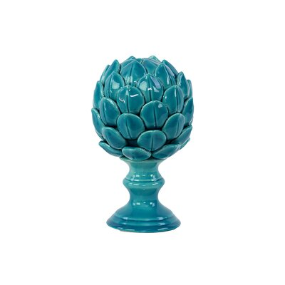 Decorative Porcelain Artichoke Sculpture on Stand Size: Large, Color: Turquoise