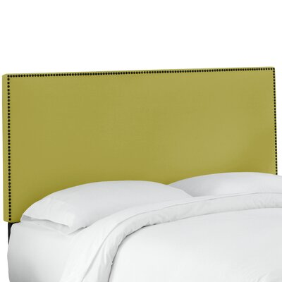 Whiteway Nail Button Border Upholstered Panel Headboard Size: Queen, Upholstery: Duck Leaf