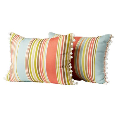 Melcher Deck Chair Ball Fringe Shell Cotton Throw Pillow Color: Sea