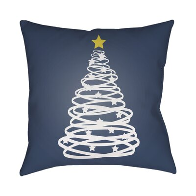 Montagna Winter Tree Indoor/Outdoor Throw Pillow Size: 18 H x 18 W x 4 D, Color: Blue / White / Yellow
