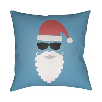 Cool Santa Indoor/Outdoor Throw Pillow Size: 18 H x 18 W x 4 D, Color: Blue / Red / White / Black