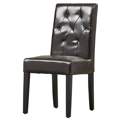 Cherry Bonded Leather Upholstered Dining Chair Upholstery: Java