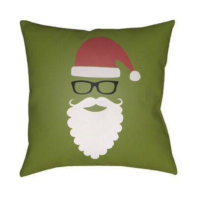Cool Santa Outdoor Throw Pillow Size: 18 H x 18 W x 4 D, Color: Green / Red / Black / White