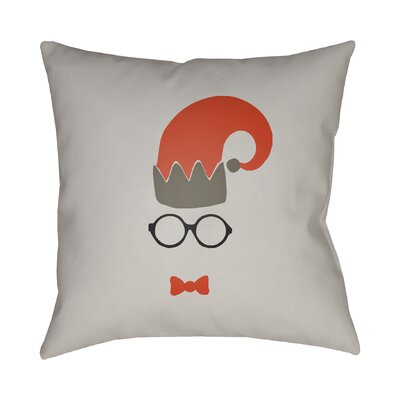 Graphic Print Indoor/Outdoor Throw Pillow Size: 18 H x 18 W x 4 D, Color: Light Gray / Red