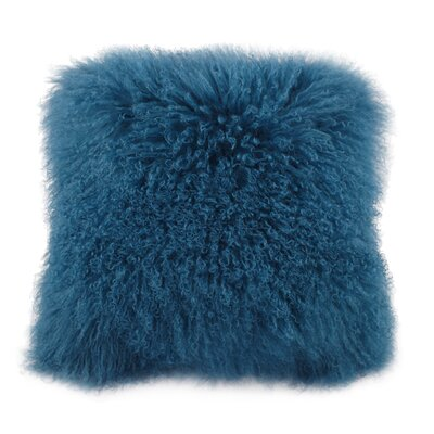 Cirebon Lamb Fur Throw Pillow Color: Blue