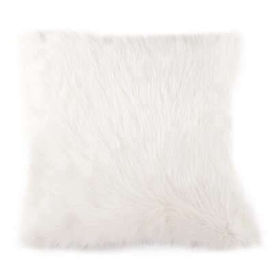 Devault Lamb Fur Throw Pillow Color: White