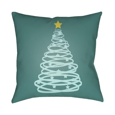 Winter Tree Outdoor Throw Pillow Size: 20 H x 20 W x 4 D, Color: Green / Yellow