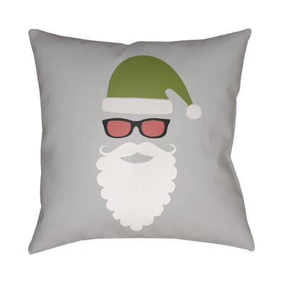 Cool Santa Indoor/Outdoor Throw Pillow Size: 18 H x 18 W x 4 D, Color: Gray / White / Red / Green / Black