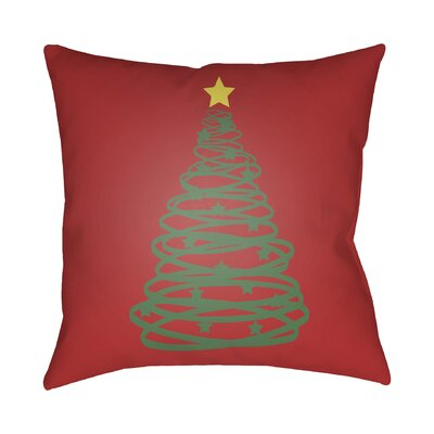 Winter Tree Outdoor Throw Pillow Size: 18 H x 18 W x 4 D, Color: Red / Green / Yellow