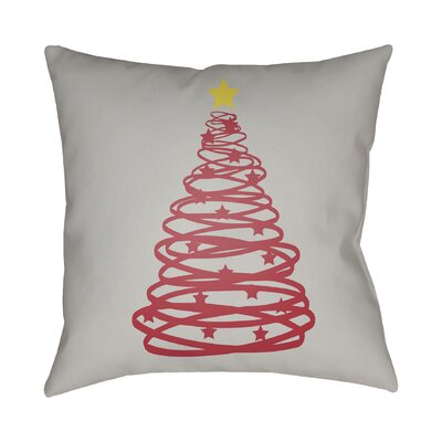 Montagna Winter Tree Indoor/Outdoor Throw Pillow Size: 18 H x 18 W x 4 D, Color: Gray / Red / Yellow