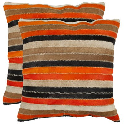 Lybarger Cotton Throw Pillow Size: 18 H x 18 W, Color: Orange / Tan