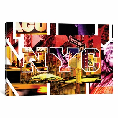 NYC by NYC - Manhattan Night Graphic Art on Wrapped Canvas
