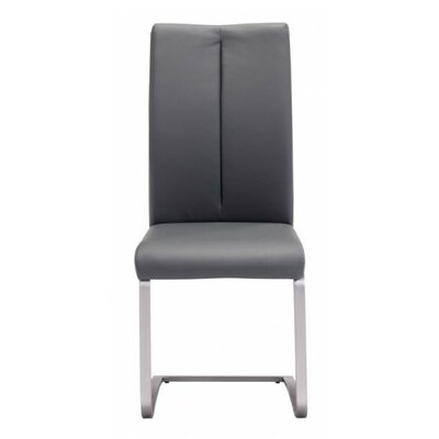 Braatz Genuine Leather Upholstered Dining Chair Upholstery: Gray