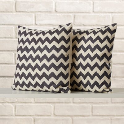 Jeramiah Striped Decorative Cotton Throw Pillow Size: 18 H x 18 W x 2.5 D, Color: Charcoal