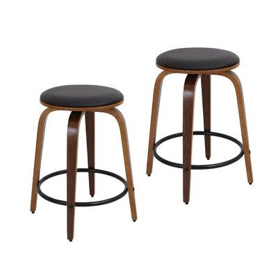 Harvey 24.5 Swivel Bar Stool Footrest Finish: Black, Upholstery: Walnut / Brown