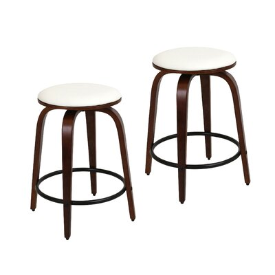 Harvey 24.5 Swivel Bar Stool Footrest Finish: Black, Upholstery: Cherry / White