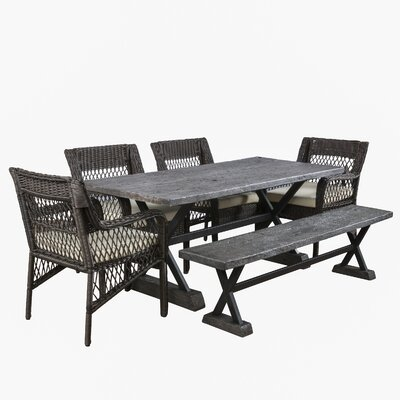 Maki 6 Piece Dining Set with Cushions