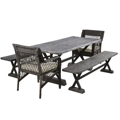 Agnew 5 Piece Dining Set with Cushions