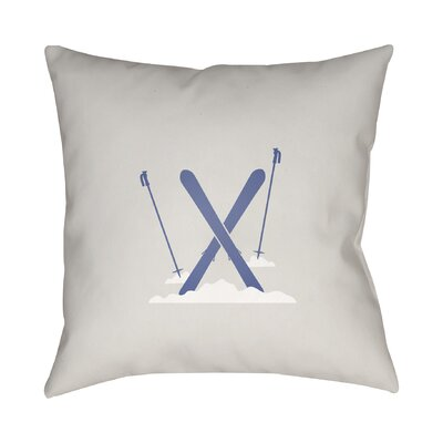 Square Indoor/Outdoor Throw Pillow Size: 18 H x 18 W x 4 D, Color: White / Blue