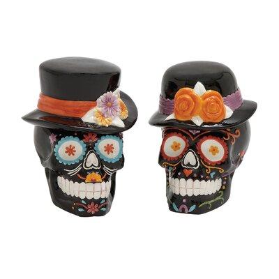 2 Piece Skull with Hat Figurine Set