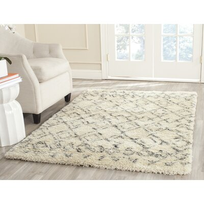 Reyes Hand-Tufted Ivory/Grey Area Rug Rug Size: 11' x 15'