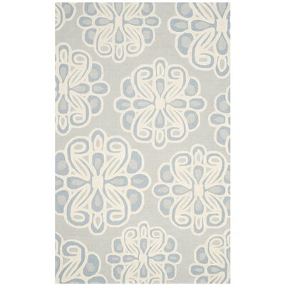 Rivera Hand-Tufted Gray/Blue Area Rug Rug Size: 5 x 75