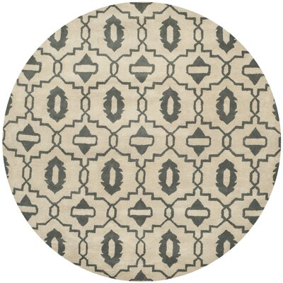 Longe Hand-Tufted Wool Beige/Gray Area Rug Rug Size: Round 7
